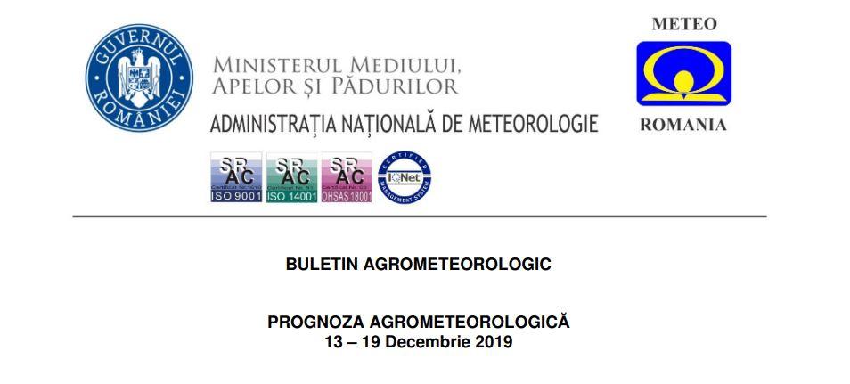 prognoza agrometeorologica 13 - 19 decembrie 2019