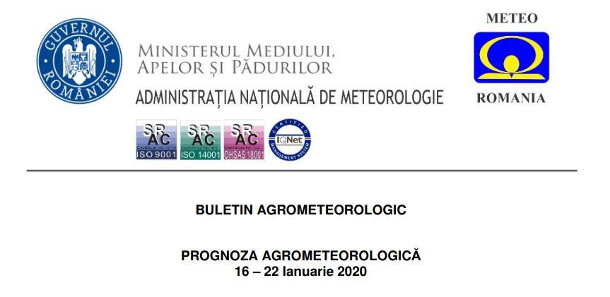 prognoza agrometeorologica ianuarie 2020