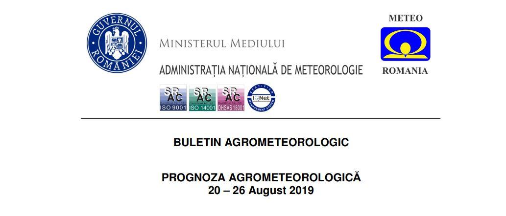 prognoza agrometeorologica 20 - 26 august 2019