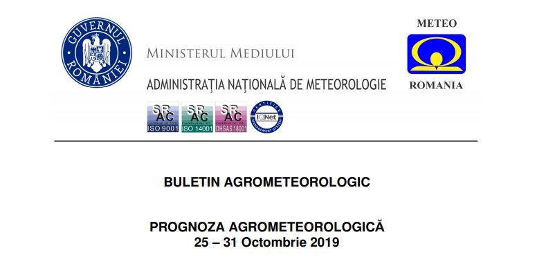 prognoza agrometeorologica 25 - 31 octombrie 2019
