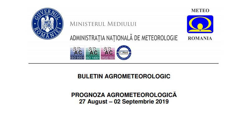 prognoza agrometeorologica 27 august - 2 septembrie 2019