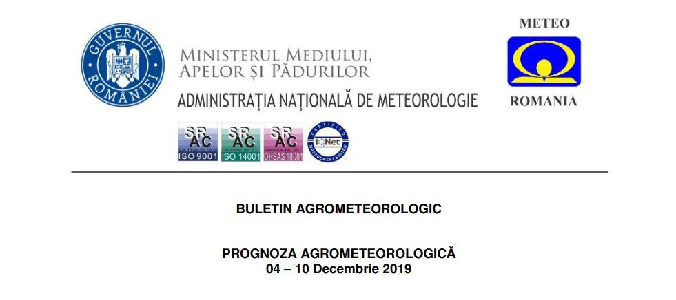 prognoza agrometeo 4-10 decembrie 2019